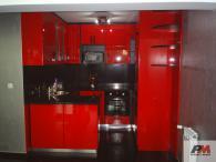 Кухня от червен МДФ гланц