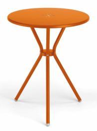 Кръгла метална маса в  оранжево