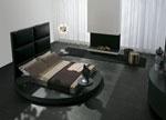 Кръгла спалня по поръчка с висока тапицирана правоъгълна табла и три поставки към леглото