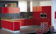Ъглови кухни по поръчка в червено